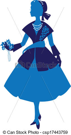 Clipart Vector of Silhouette of an elegant woman dressed in the.