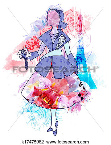 Clip Art of Silhouette of an elegant Dior woman k17475962.