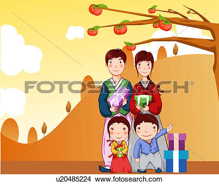 Drawings of present box, mountain, family, gift box, Diospyros.