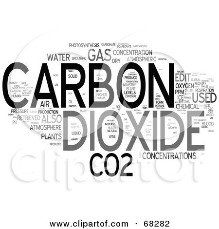 Clipart of 3d CO2 Carbon Dioxide Emissions.