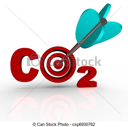 Clip Art of CO2 Carbon Dioxide Emission Reduction Target and Goal.