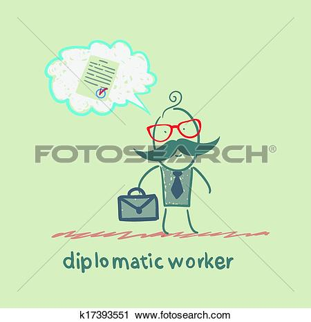 Clipart of diplomatic worker thinks about the document k17393551.