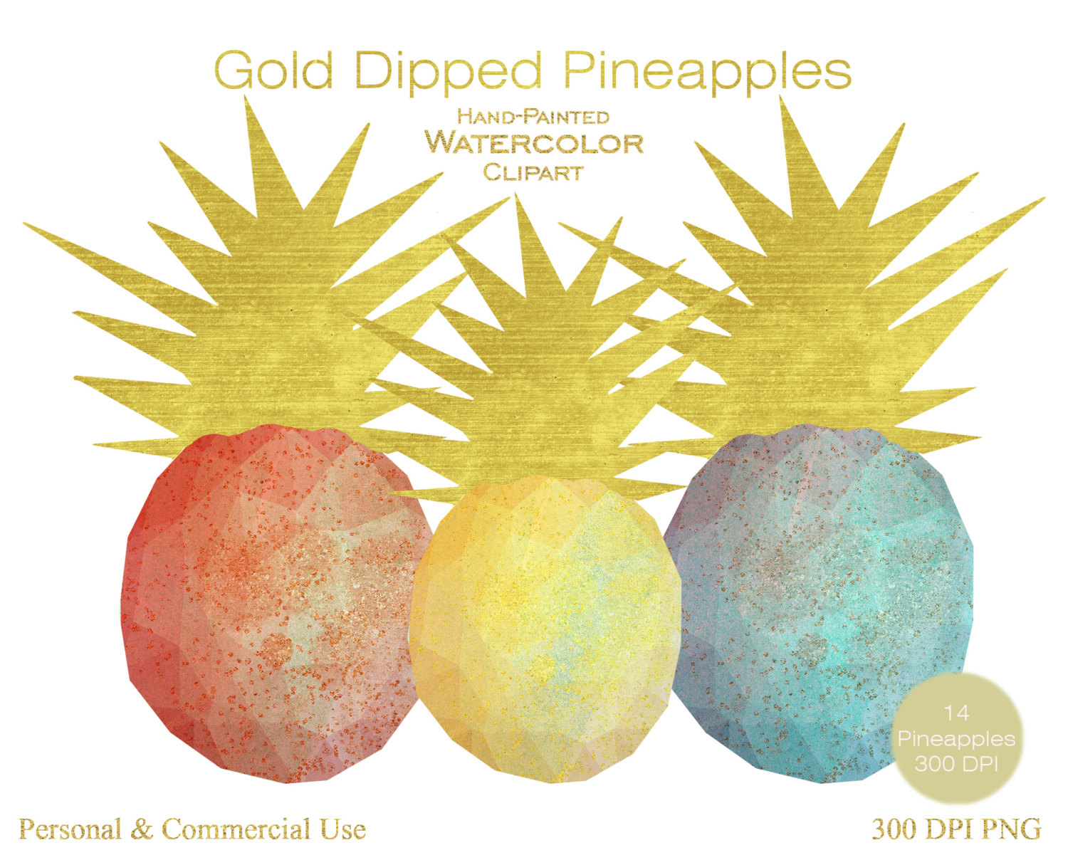 WATERCOLOR PINEAPPLES Clipart Commercial Use Clipart 14 Geometric.