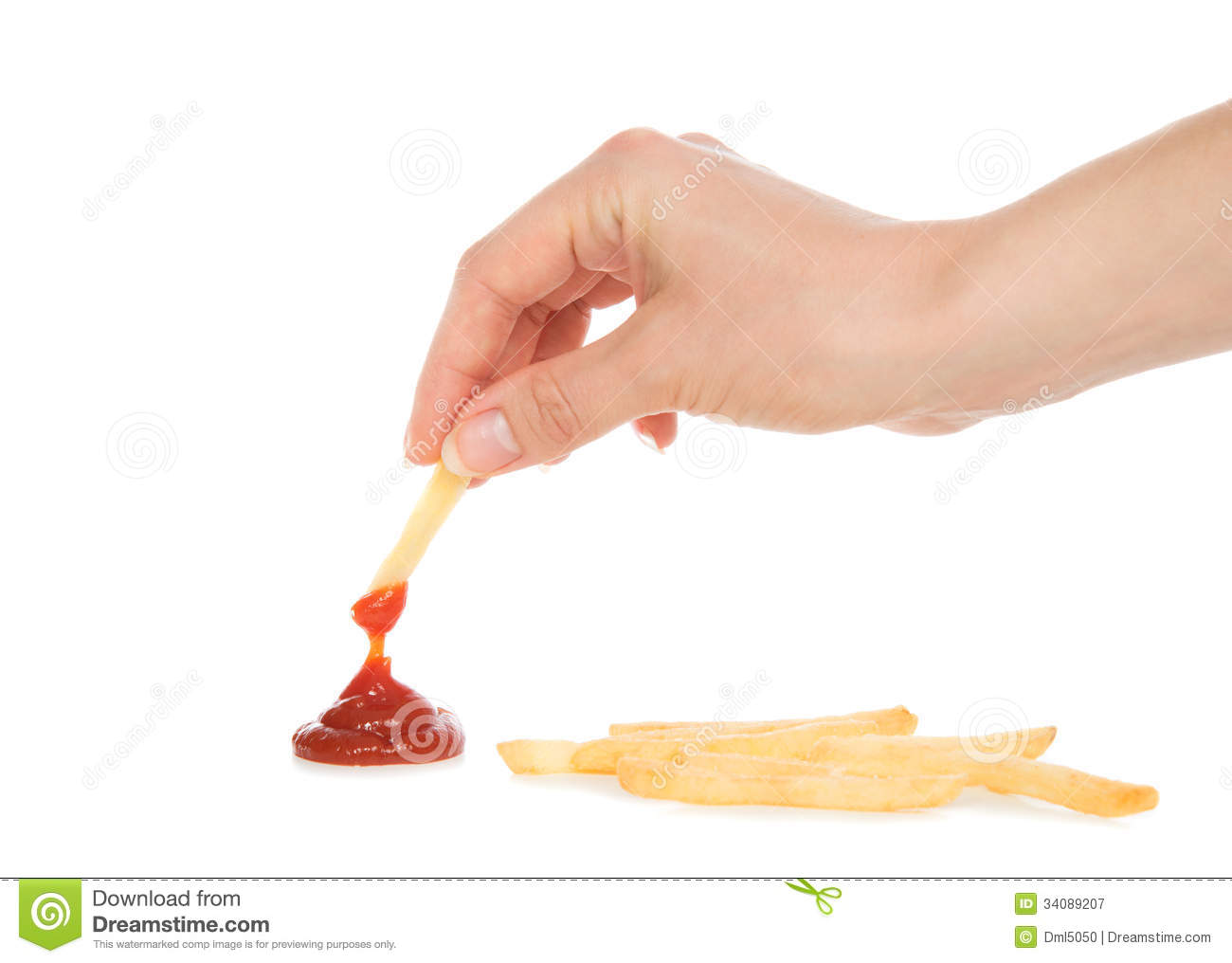 Hand Dip French Fries Chips Into Ketchup Royalty Free Stock Photo.