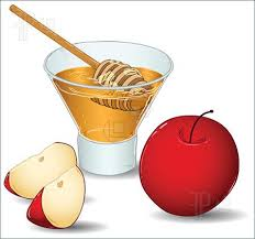 Apple dipped in honey clipart.