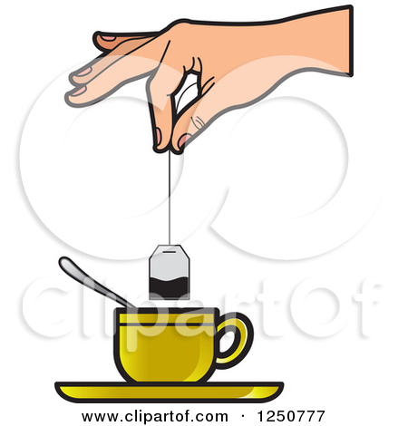 Clipart of a Hand Dipping a Tea Bag into a Gold Cup.