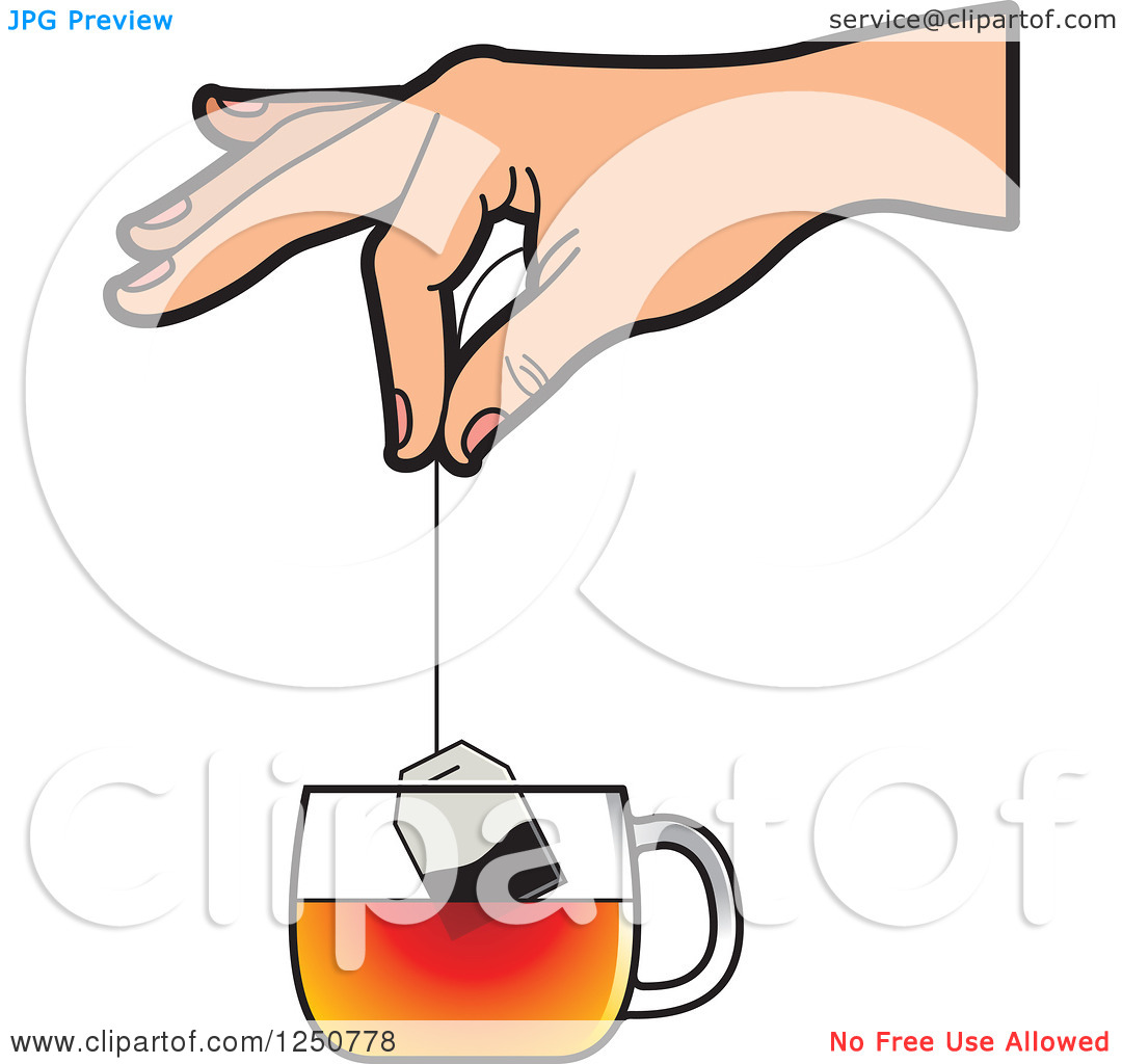 Clipart of a Hand Dipping a Tea Bag into a Glass Cup.