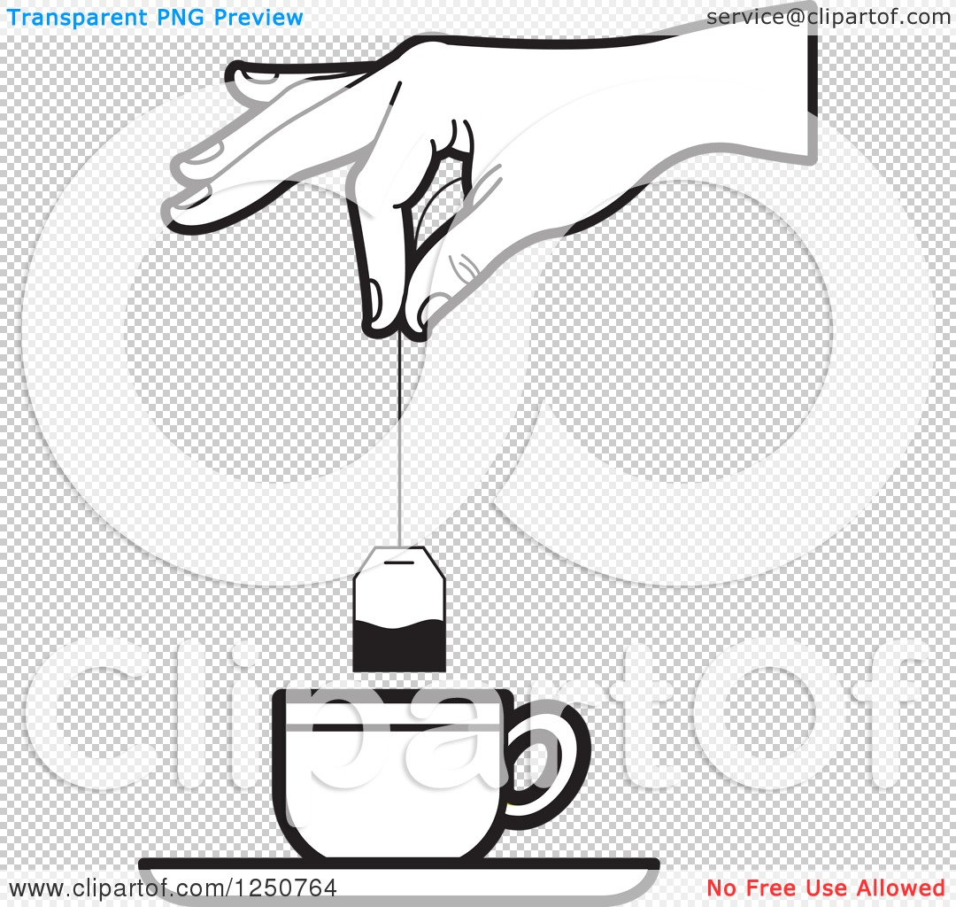 Clipart of a Black and White Hand Dipping a Tea Bag into a Cup.