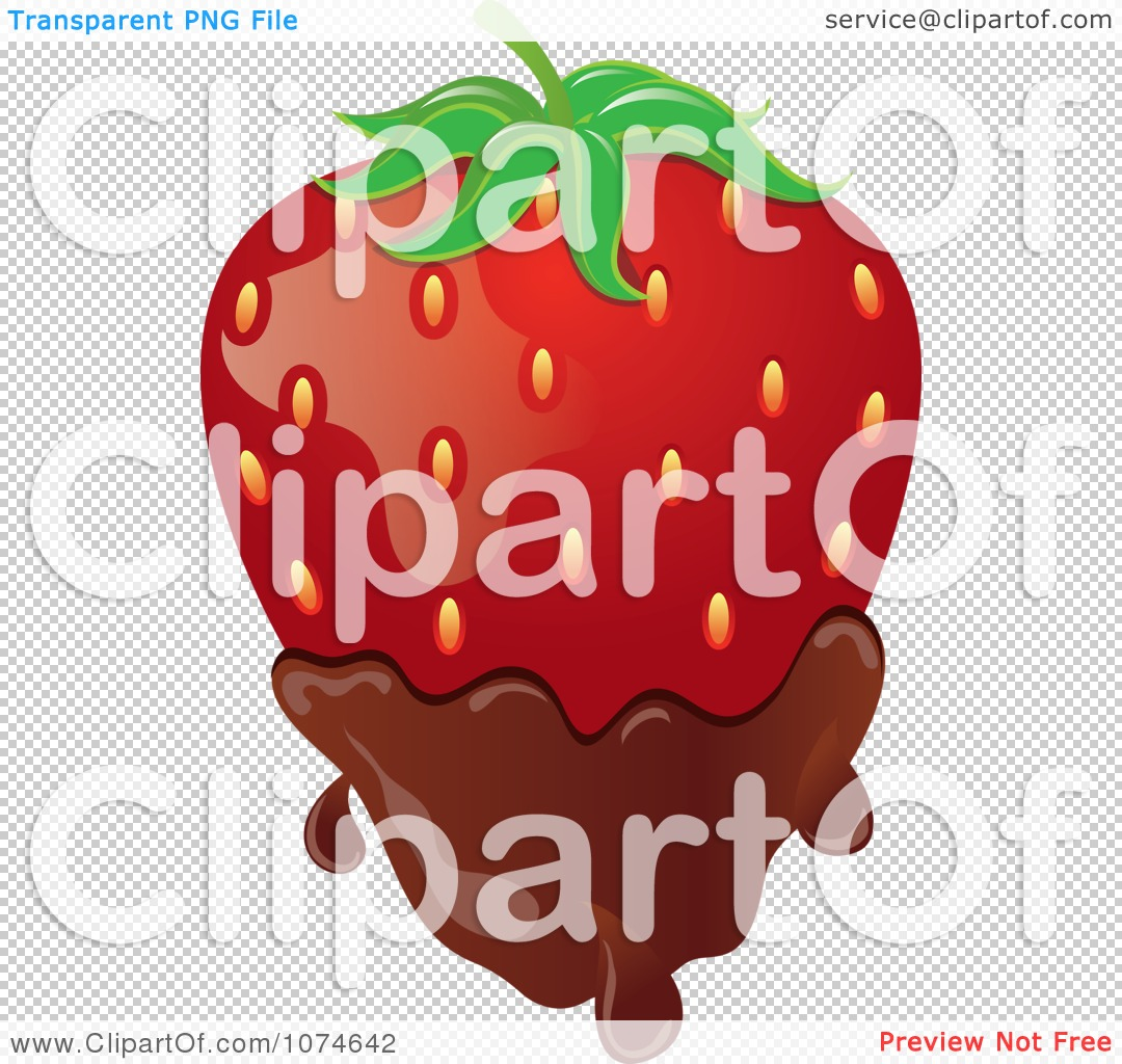 Clipart 3d Strawberry Dipped In Milk Chocolate.