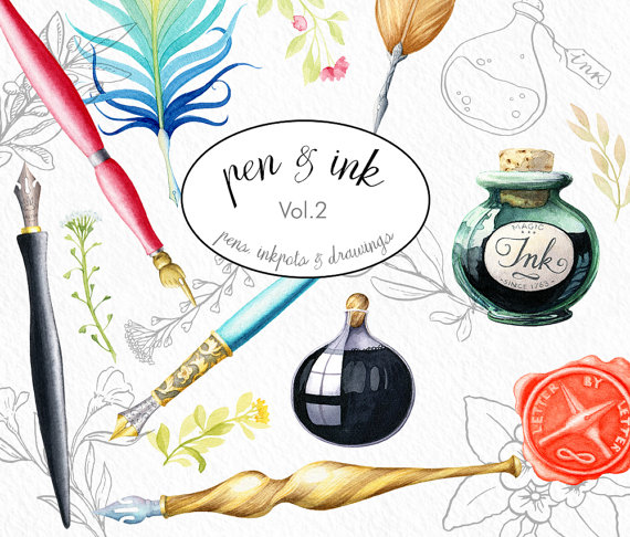 Calligraphy clipart dip pen clipart ink clip by WatercolorNomads.