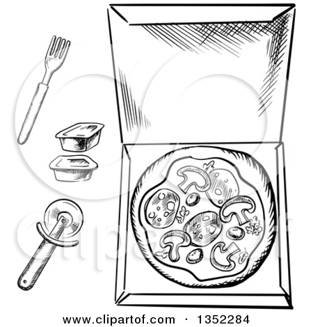 Clipart of a Black and White Sketched Pizza in a Box, Cutter.
