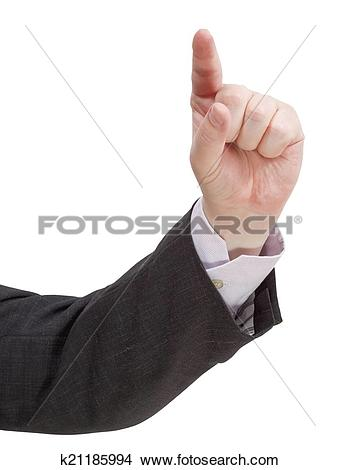 Stock Photo of direct view of pressing forefinger.