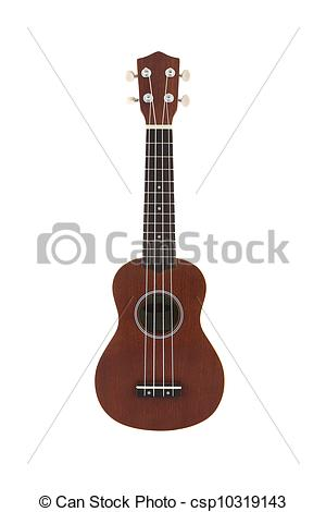 Stock Photo of Small guitar (ukulele) direct view on white.