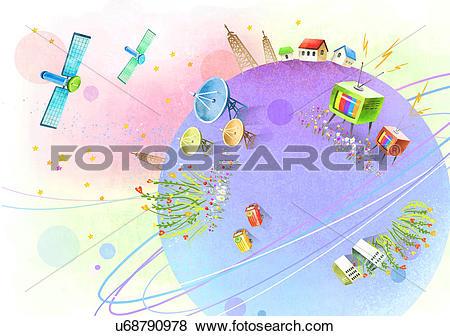 Stock Illustration of Direct broadcast satellite dish u68790978.