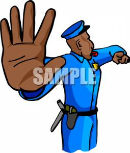 Police Officer Directing Traffic Clipart Image.