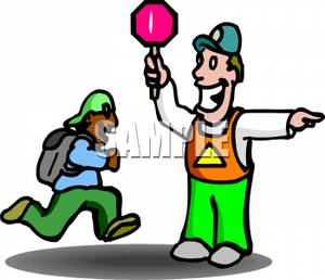 Colorful Cartoon of a Safety Guard Directing a Student Across a.