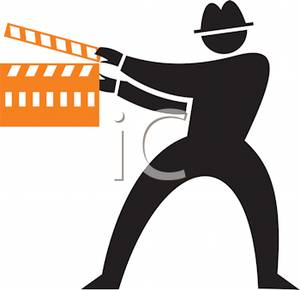 Black Silhouette of a Man Directing a Film.