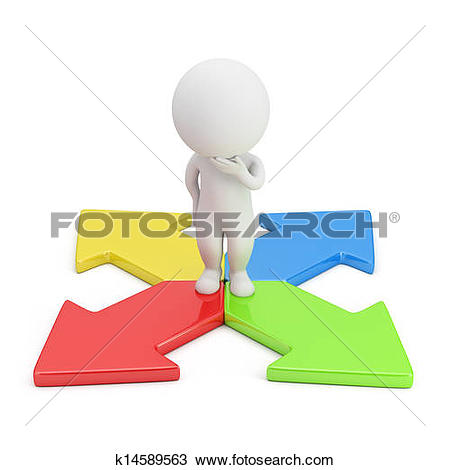 Clip Art of Business decision with blank sign k8171092.