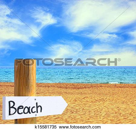 Stock Image of Paradise beach and sea with wooden board showing.