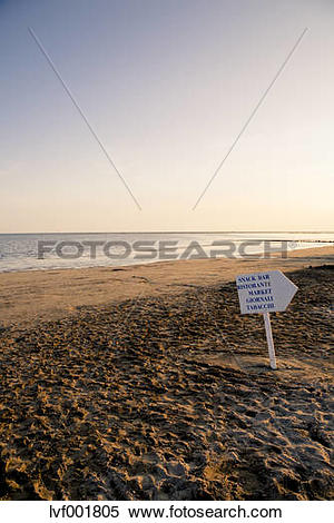 Stock Image of Italy, Gorizia, Grado, view to sandy beach with.