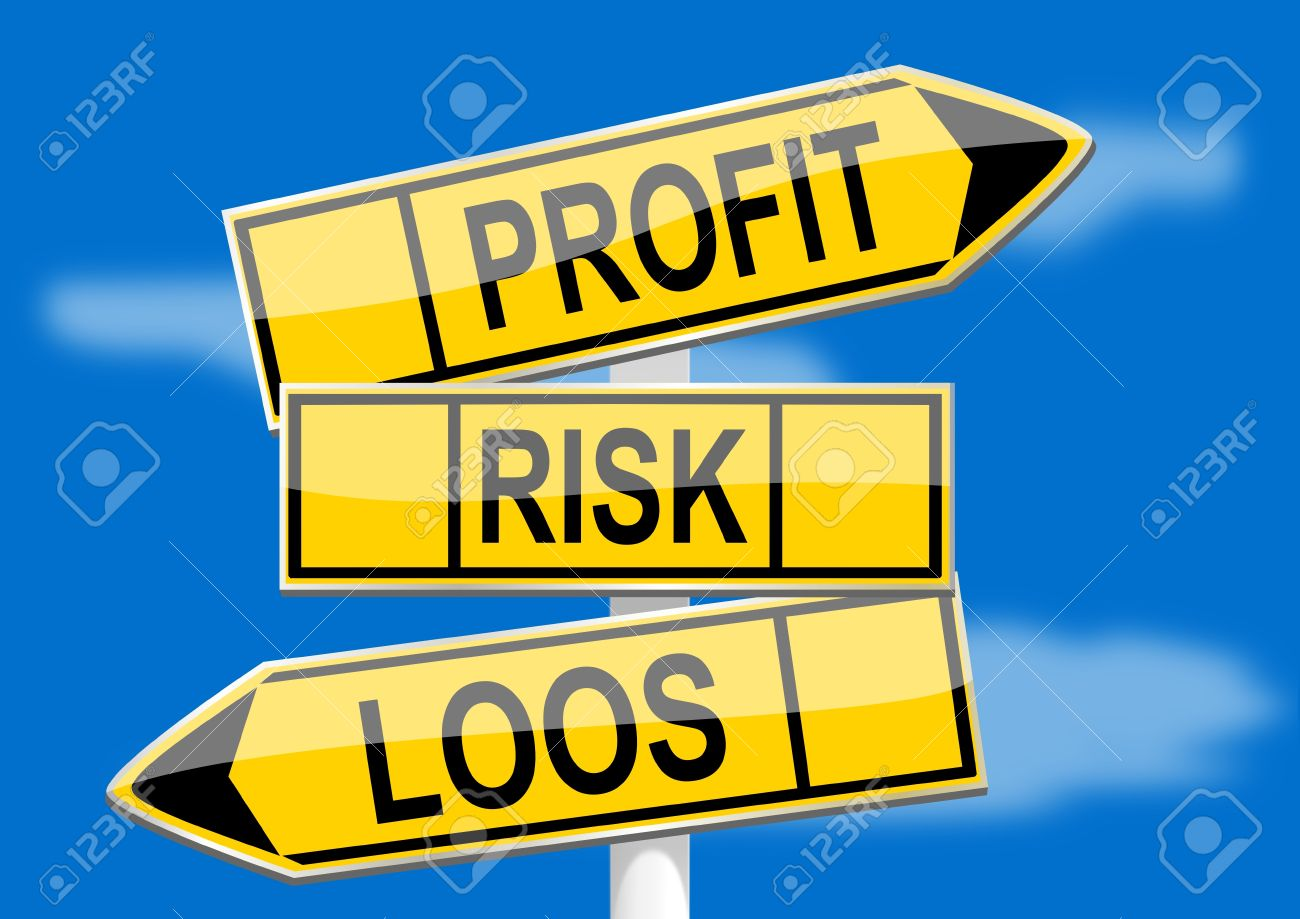 Signpost With Direction Indicators Profit, Risk, Loss Royalty Free.