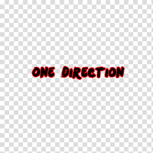 One Direction Text, red one direction logo transparent.