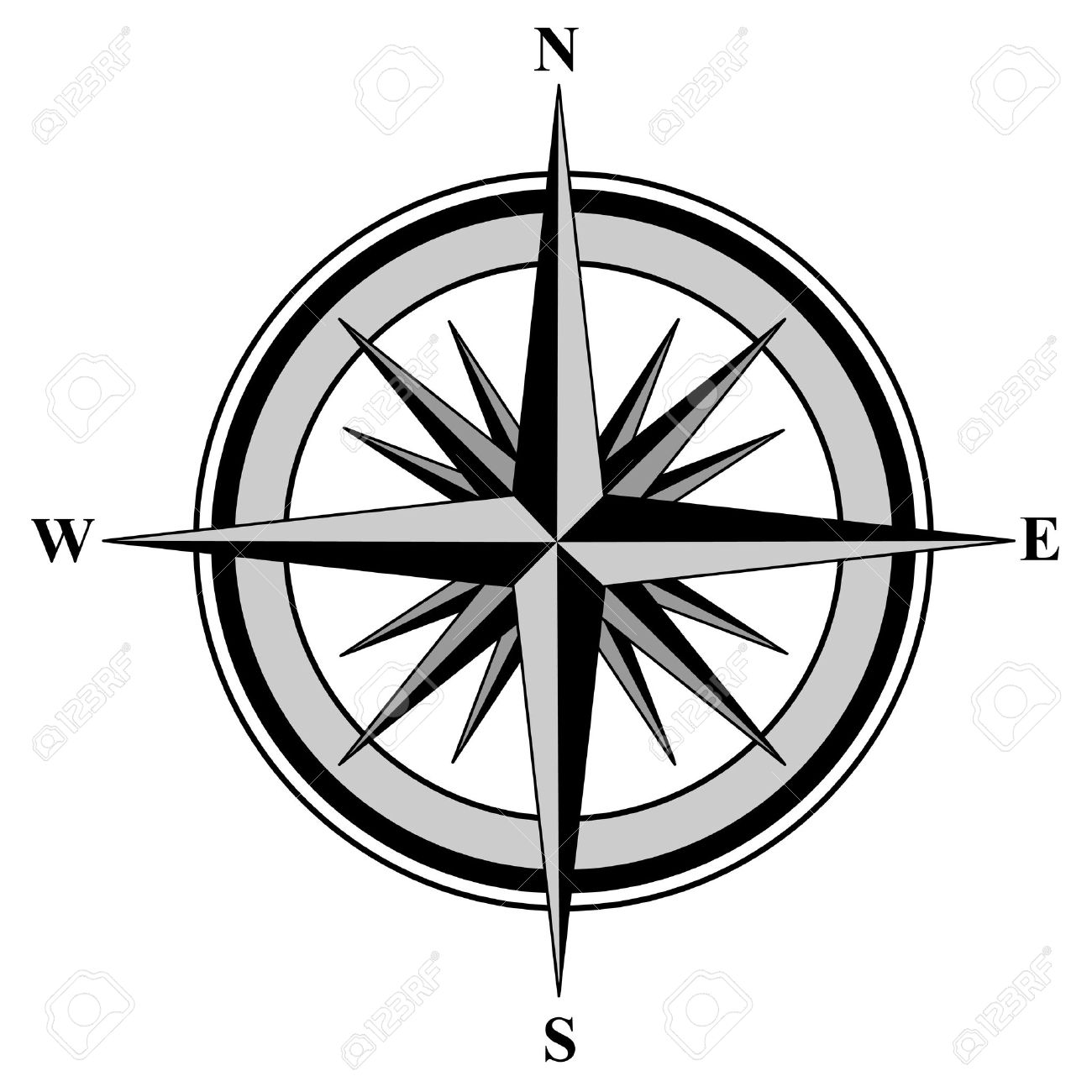 Illustration Of A Compass With All Directions North East South.