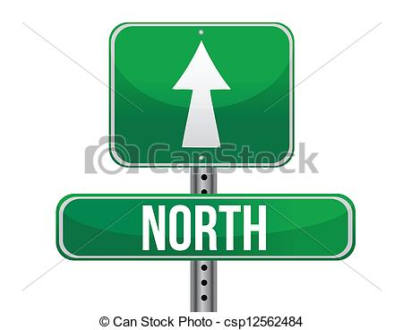 Vector of road sign to the north geographical direction.