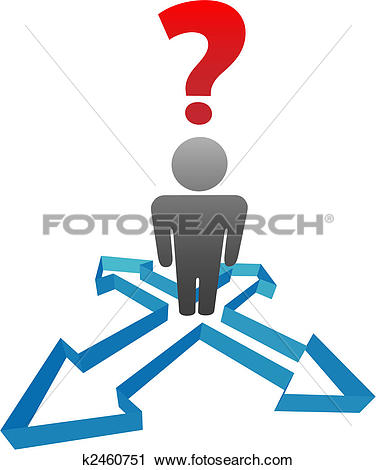 Clipart of Question person undecided in decision direction arrows.
