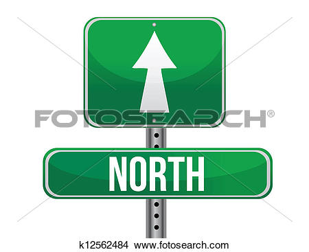 Clipart of road sign to the north geographical direction k12562484.
