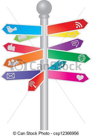 Clipart Vector of Direction Social Media Signs Illustration.