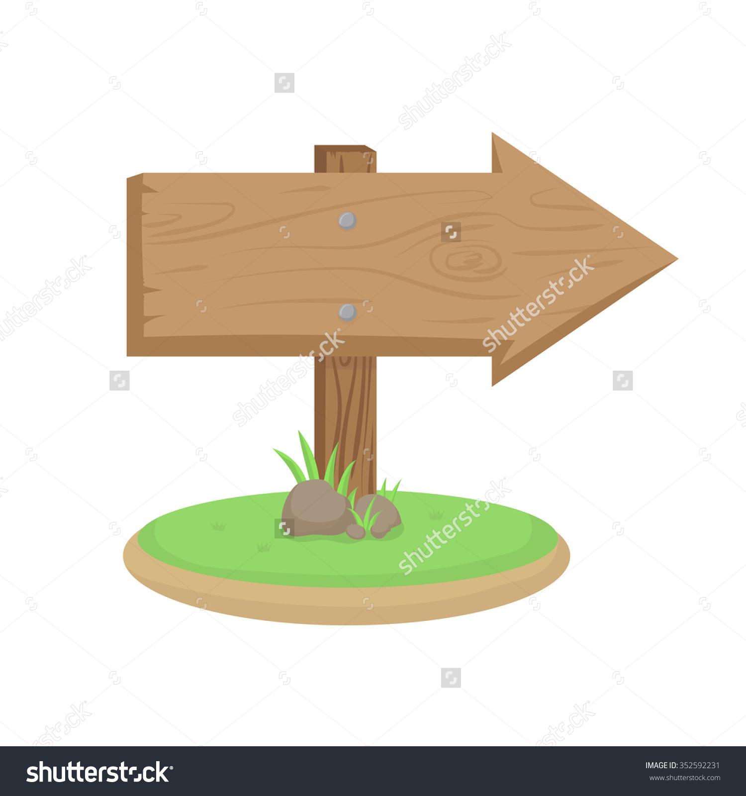 Cartoon Clip Art Wooden Direction Sign Stock Vector 352592231.