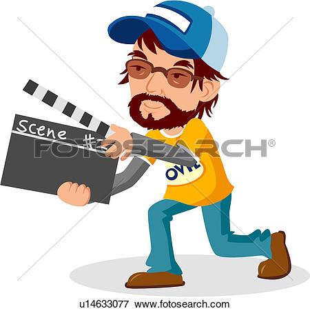 Clip Art of director, movie, cinema, film director, full age.
