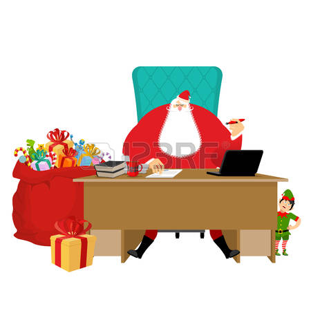786 Office Santa Claus Stock Vector Illustration And Royalty Free.