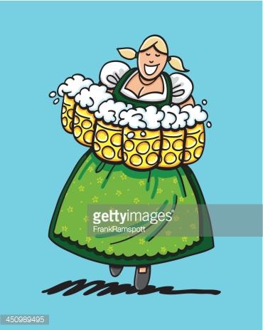 Beer Stein Bavarian Dirndl Cartoon Woman Isolated Vector Art.