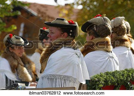 "Stock Photo of ""Leonhardiritt procession, women wearing."