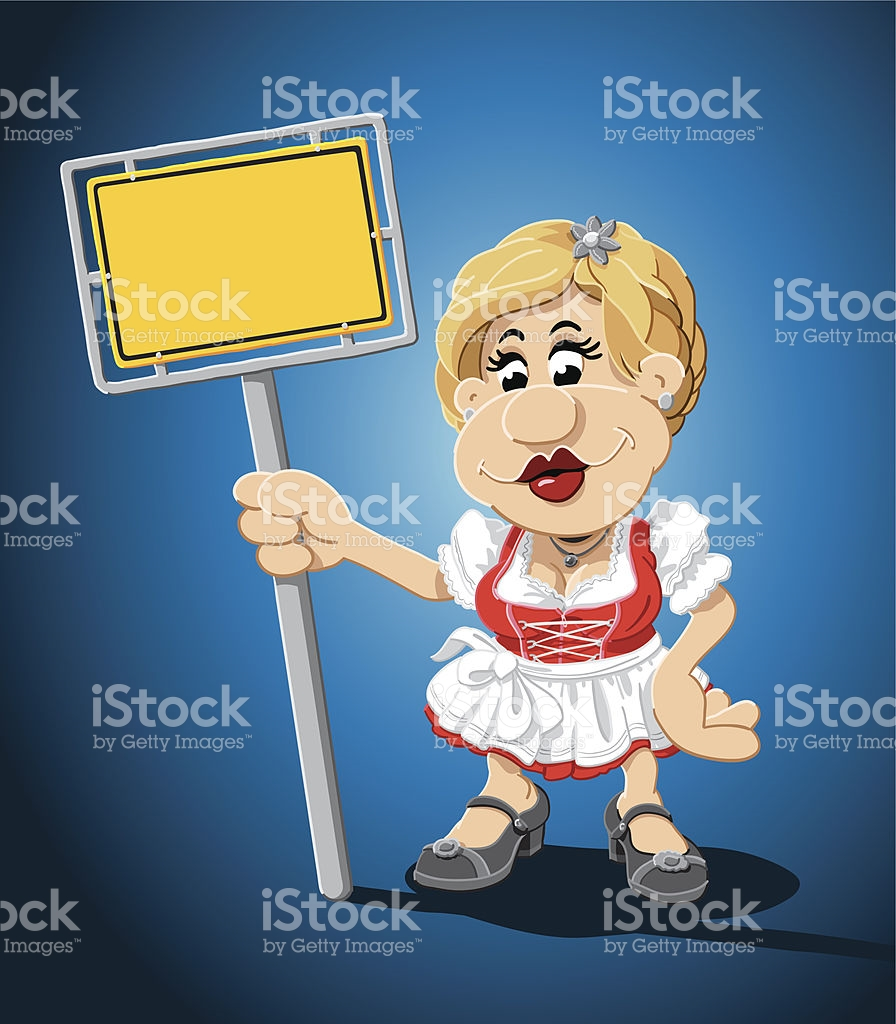 Bavarian Dirndl Cartoon Woman Yellow Sign stock vector art.