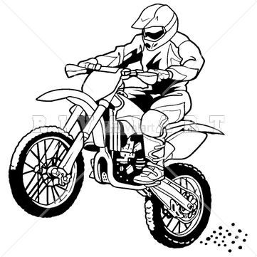 Sports Clipart Image of A Motocross Rider On A Dirt Bike.