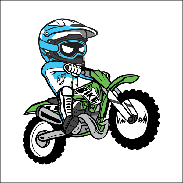 Cartoon Dirt Bike Sticker.