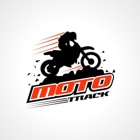 Dirt bike and rider silhouette logo.