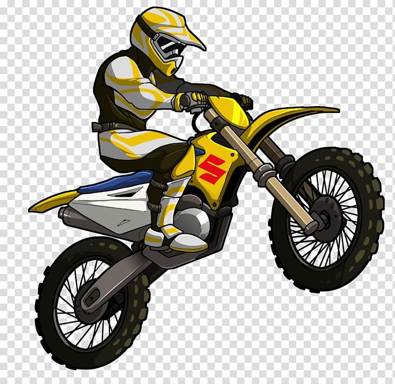 Man riding Suzuki dirt bike illustration, Hill Climb Racing.