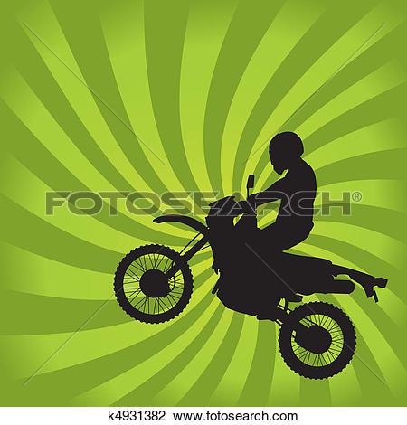Clipart of Jumping Dirt Bike Silhouette k4931382.