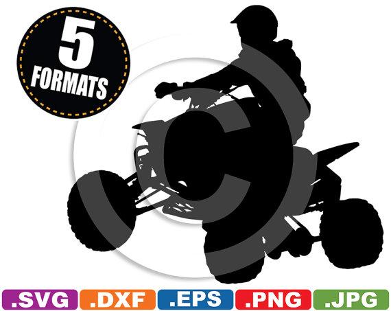 Quad / Dirt Bike Silhouette Clip Art Image svg & dxf cutting.
