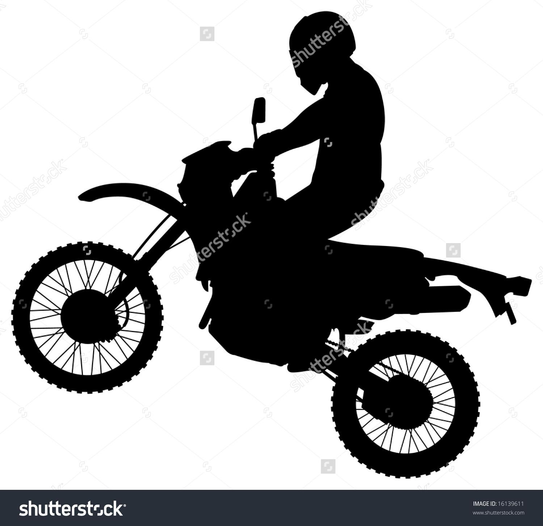 Man On Jumping Dirt Bike Silhouette Stock Vector 16139611.