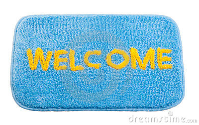 Blue Welcome Doormat Stock Photography.