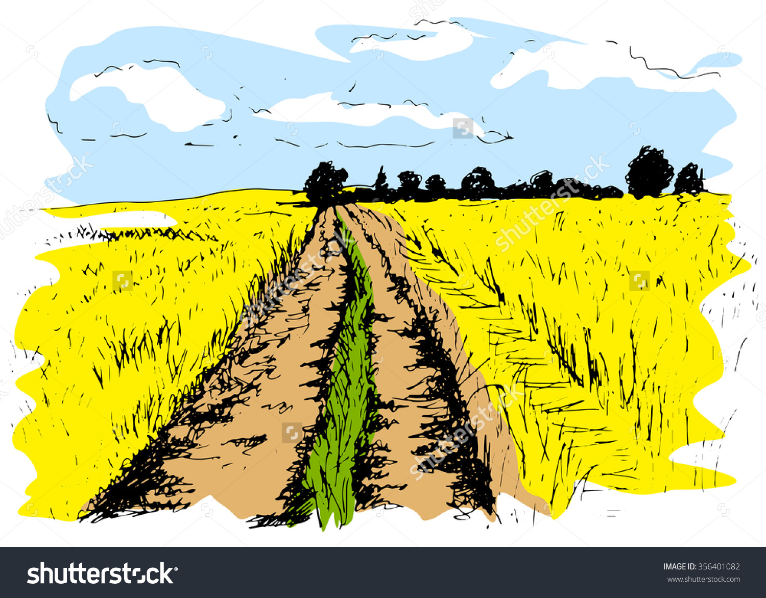 Colored Hand Sketch Dirt Road Stock Vector 356401082.