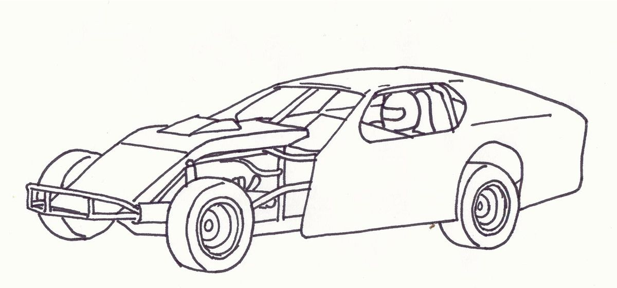 Modified Race Car Coloring Pages.