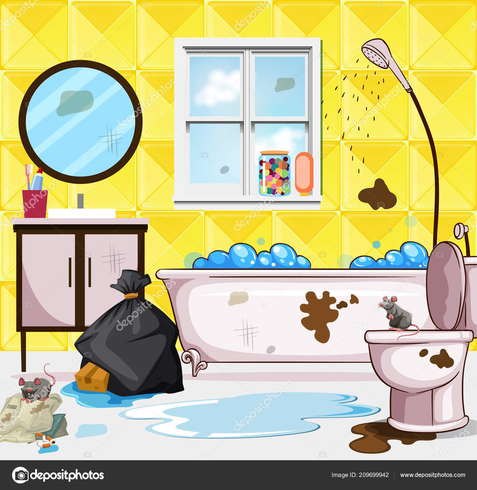 Clipart: dirty bathroom.