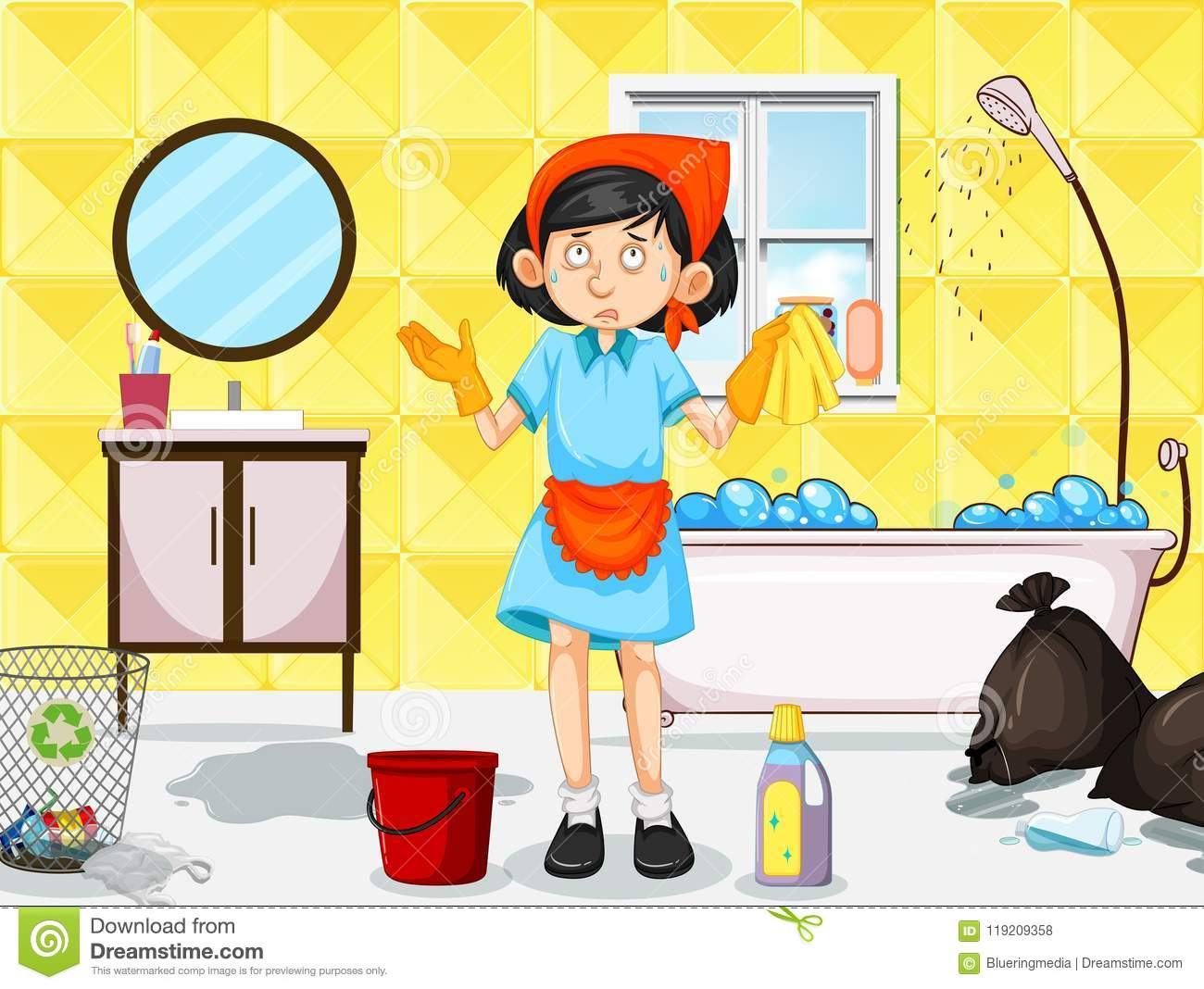 A Maid Cleaning Dirty Toilet Stock Vector.