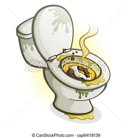 Dirty Toilet Cartoon Illustration.